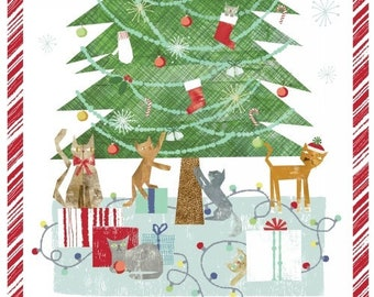 Make Merry Christmas Cat - Cats & Tree - Maria Carluccio for Windham  51151 Panel - Priced by the 24-Inch Panel