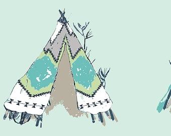 Tee Pee Fabric - Tipi - Art Gallery Fabric - Gansu Village Pandalicious by Katarina Roccella  PND 20126 - Priced by the half yard