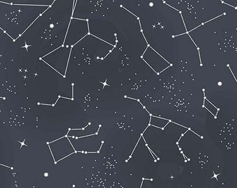 Constellation Fabric - Star Fabric - Out of this World - NASA Licensed - Riley Blake Fabric - CS 7804 Gray GID - end of bolt 27 inch
