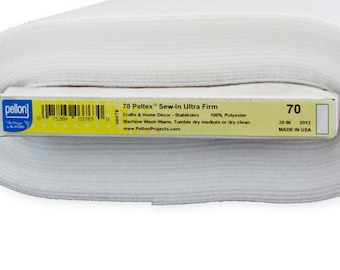 Pellon Peltex 70FW white Ultra Firm Sew In Interfacing Stabilizer - Half Yard x 20-Inch wide