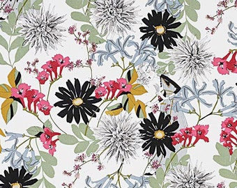 Ghastlie Snip - Garden Fabric - Dahlia Fabric - Alexander Henry Fabric -  Ghastly fabric  - 8717 A Natural - Priced by the 1/2 yd