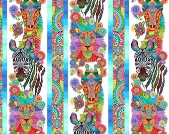 Safari So Goodie - Safari Animals Bright Floral Border Stripe - Wilmington Prints Fabric - 77629-149 - Priced by the half yard