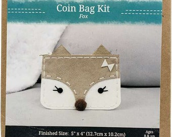 Needle Creations Crafty Chic Coin Bag Kit - Fox Face - all Inclusive - DIY project - Age 8 and Up