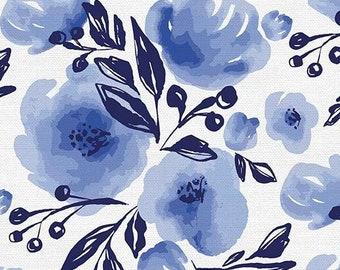Lula Blue - Nona Floral Indigo - Erin Borja for Paintbrush Studio - 120 21773 - Priced by the 1/2 yard