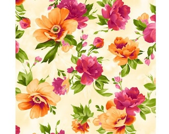 Autumn Floral - Paradise Floral - Blooming Flowers - Maywood Studio 8453 Cream - Priced by the half yard