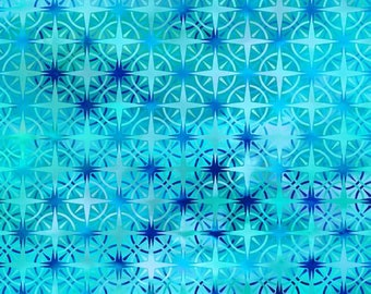 Compass Fabric - Calypso - In The Beginning Jason Yenter - 8CAL 3 Turquoise Ombre - Priced by the 1/2 yard