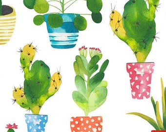 Cactus Fabric - Watercolor Cacti - Stuck on You by Timeless Treasures C7216 - Priced by the Half yard