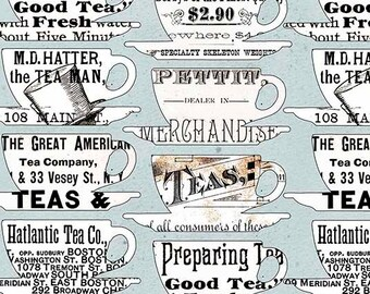 Tea Fabric, Hatters Tea Party, Tea Cups - by Janet Wecker Frisch - Quilting Treasures 26152 Blue - Priced by the Half Yard
