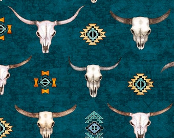 Southwest Fabric - Longhorns - Cattle Skull -Southwest Soul - Dan Morris Quilting Treasures - 26638 Teal - Priced by the half yard