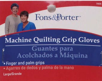 Machine Quilting Grip Gloves - Fons and Porter - Women's  7855 Blue (Medium) or 7856 Yellow (Large)