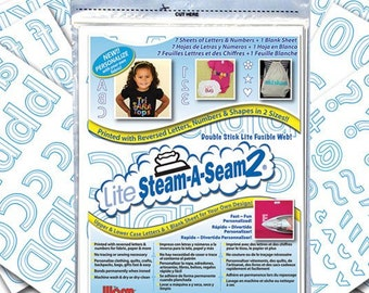 ABC 123 Steam A Seam Lite Warm Company double stick fusible web - #5414 Printed Sheets 9x12 inch, 8 per pack - 5424 White - Applique