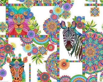 Safari So Goodie - Safari Animals Bright Floral -  Wilmington Prints Fabric - 77630-174 - Priced by the half yard