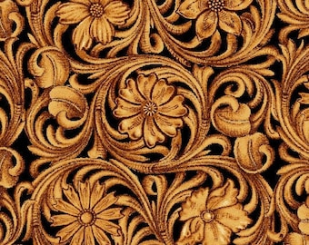 Filigree Leather Work Cotton Fabric - Wild Wild West - Art Loft for Studio E - 5352 38 Sienna - Priced by the Half Yard