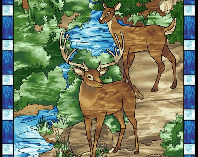 Featured listing image: Deer Panel, Woodland animal, Forest Scene - Mosaic Forest by Studio e Fabrics - 4190P-77 - 24-Inch Panel