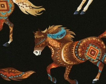 Southwest Horse Fabric - Native American Design - Western Fabric - Timeless Treasures c 5036  Black - Priced by the Half yard