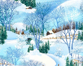 Snow Fabric - Winter Fabric - Woodland Fabric - Snowy Christmas by Exclusively Quilters 61461 2GL - Priced by Half yard