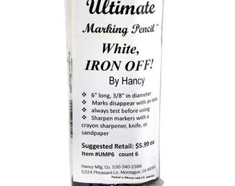 Iron Off Pencil - Fabric Marker - Heat Erasable Marker, White Marker, Dark Fabric Marker  - Hancy White - sold by the Each