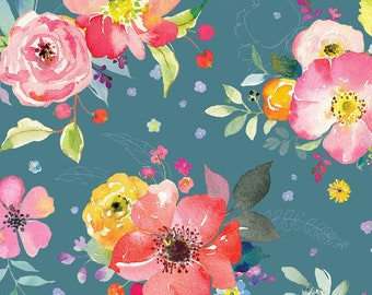 Floral Fabric - Watercolor Floral - Chelsea Yorkshire Blooms - Brenda Walton - Blend Fabrics 123 104 01 1 Blue - Priced by the 1/2 yard