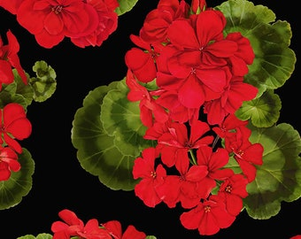 Geranium Fabric - Tossed Geraniums, Front Porch Cats - Timeless Treasures c 6382 - Priced by the 1/2 yard