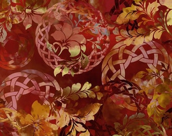 Celtic Fabric - Celtic Garden - Diaphanous - In The Beginning Jason Yenter 3ENC1 Orange Spice - Priced by the 1/2 yard