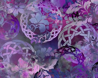 Celtic Fabric - Celtic Garden - Diaphanous - In The Beginning Jason Yenter 3ENC3 Purple Amethyst - Priced by the 1/2 yard