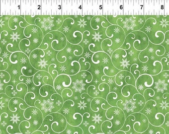 Snowflake Swirl - Poinsettia Winter - Christmas Fabric - In The Beginning - 8APW 1 Green - Priced by the 1/2 yard
