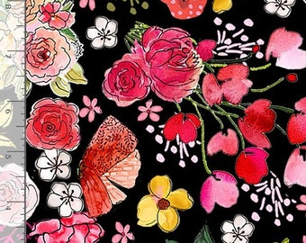 Sew Floral - Large Floral by Gail Cadden for Timeless Treasures C8933 Black - Priced by the 1/2 yard