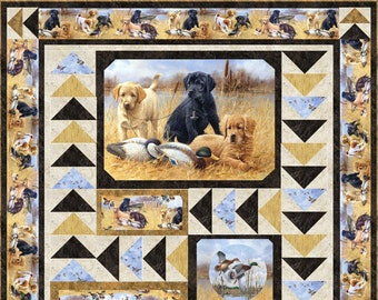 """Northcott Faithful Friends Quilt Kit - Pattern by Hedgehog Quilts Terry Albers - Finished size 65""""x73"""" - DIY Quilt Top"""