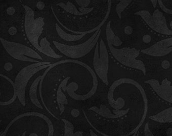 Wide Back Quilt Back 108 Inch - Vintage Scroll - Wilmington Prints 1818-2029-999 BLACK - Priced by the Yard
