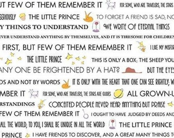 Text Fabric - The Little Prince - Riley Blake Designs - White w/ Black text - c6792  - Priced by the 1/2 yard