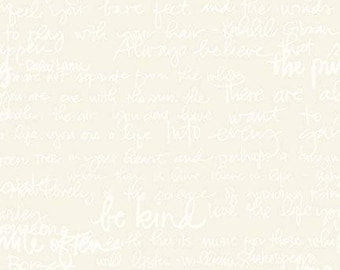Text Fabric - Tone on Tone Quotes & Phrases - Riley Blake Designs - C217 CREAM - Priced by the 1/2 yard