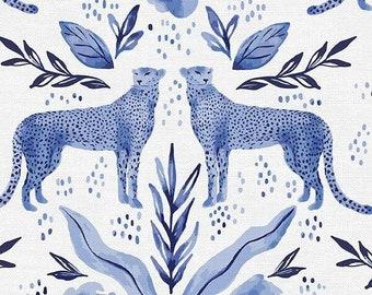 Lula Blue - Cheetah Trellis Indigo - Erin Borja for Paintbrush Studio - 120 21770 - Priced by the 1/2 yard