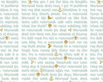 Text Fabric - Let's Be Mermaids - Melissa Mortensen by Riley Blake Designs - SC 7614 White Blue Gold - Priced by the 1/2 yard