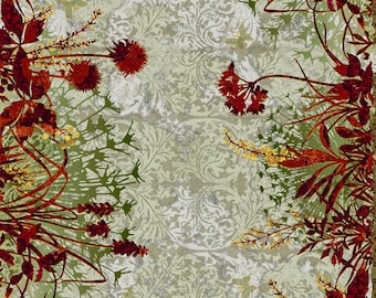 Floral Border Fabric - Floral Fabric - Dreamscape - In The Beginning Jason Yenter 1JYD Red - End of Bolt 32 Inch