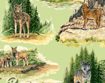 Wolf Fabric, Wolf Pack - Wolf Song for Exclusively Quilters  3732 8755 6 - Priced by Half yard