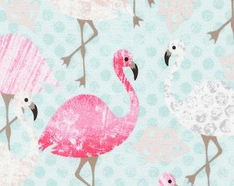 Flamingo Fabric - Pink Flamingo by Timeless Treasures C3813 - Aqua - End of bolt - 32-Inch