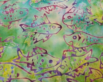 Fish Batik Fabric - Artisan Indonesian from Majestic Batiks - CBN 016 Green w/purple -  Priced by the 1/2 yard