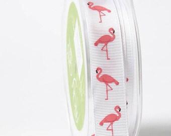 Flamingo ribbon, Tropical ribbon, Florida ribbon, Miami Vice Ribbon - 100% polyester, sold by the yard   QHP422