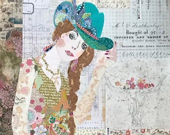 """Hey Cowboy -  Laura Heine - Applique Quilt -   DIY Pattern Or Kit Option - 28"""" x 64"""" full size reusable template pattern"""