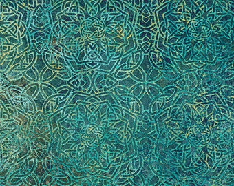 Solstice Fabric - Stonehenge 10th Anniversary - Celtic Medallion - Northcott  39432 66 Teal - Priced by the 1/2 yard
