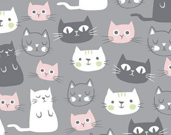 Purrfect Day - Cat Fabric - My Minds Eye for Riley Blake - C9900 Gray - Priced by the Half Yard