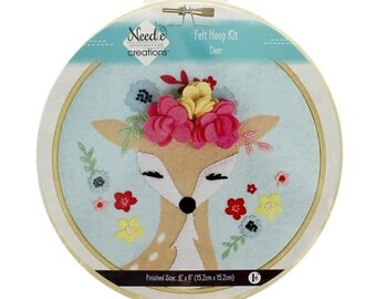 "Needle Creations Kit Felt Hoop 6"" Deer With Flowers - 6-inch hoop - all Inclusive - DIY project"