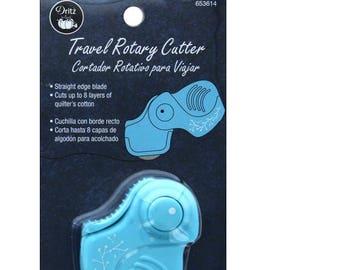 Travel Rotary Cutter, Folding Cutter, Portable Rotary Cutter - 28mm - Dritz Blue