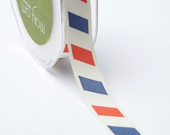 "Patriotic Ribbon - Red White Blue Stripe 3/4"" Canvas Ribbon  - Priced by the Yard"