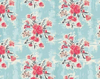 Floral Fabric - Bouquet Stripe - Abbie - Sue Daley Designs with Gabrielle Neil - Riley Blake Designs C7711 Aqua - Priced by the 1/2 Yard