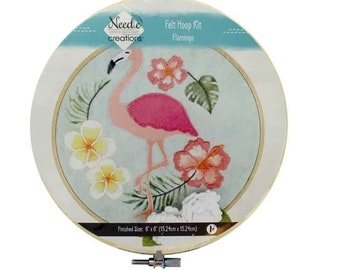 "Needle Creations Kit Felt Hoop 6"" Flamingo with flowers - 6-inch hoop - all Inclusive - DIY project"