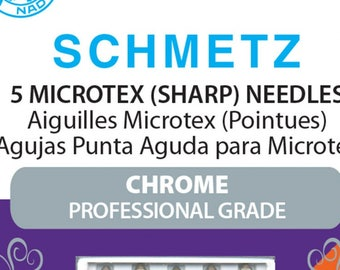 Sewing Needles, Microtex Needles, Schmetz, Chrome Needles, 80/12 Sharp - 5 pack