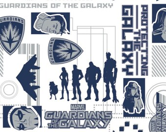 Guardians of the Galaxy, Marvel Comic - Silhouette Images - Camelot 13090104 Navy  - Priced by the 1/2 yard