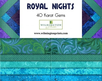Jewel Tone Fabric - Wilmington Essentials - Royal Nights - Wilmington Prints Gem Pack 842 - 2.5 Inch WOF Strip Pack - 40 piece per pack