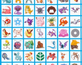 Pokémon - Multi Pokemon Character Squares  - Kaufman 17225205 - Priced by the YARD